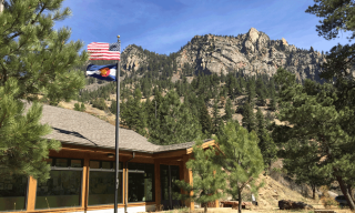 mountains visitors center flags